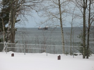 Freighter off park north of Baraga on US41