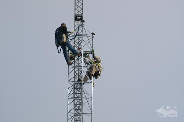 Men working UP high