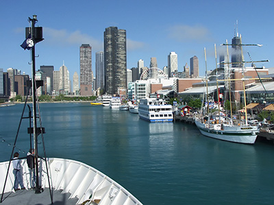 Arriving at Navy Pier in Chicago