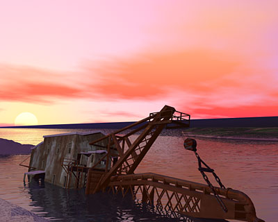 Torch Lake Dredge #2 On Clear Night