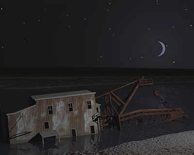 Torch Lake Dredge #2 With Stars and Moon