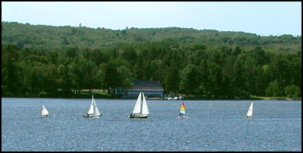 Sailboats On Portage Lake Near Pilgrim Point